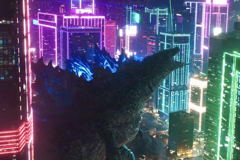 Neon drenched Godzilla