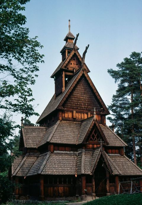 gol stave church, now in the norsk folkemuseum