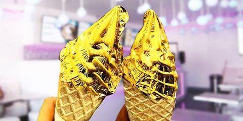 Yellow, Footwear, Ice cream cone, Soft Serve Ice Creams, Ice cream, Frozen dessert, Dessert, Gelato, Shoe, Dairy,