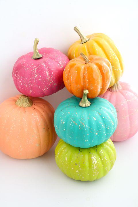 gold splattered painted pumpkins