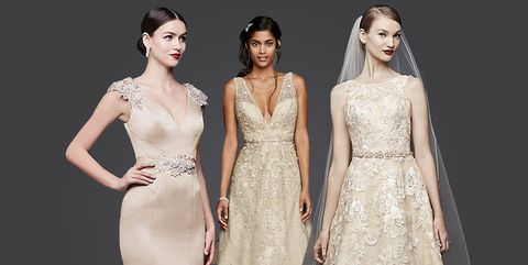 14 Best Gold Wedding Dresses 2019 Sparkly Champagne Wedding Gowns