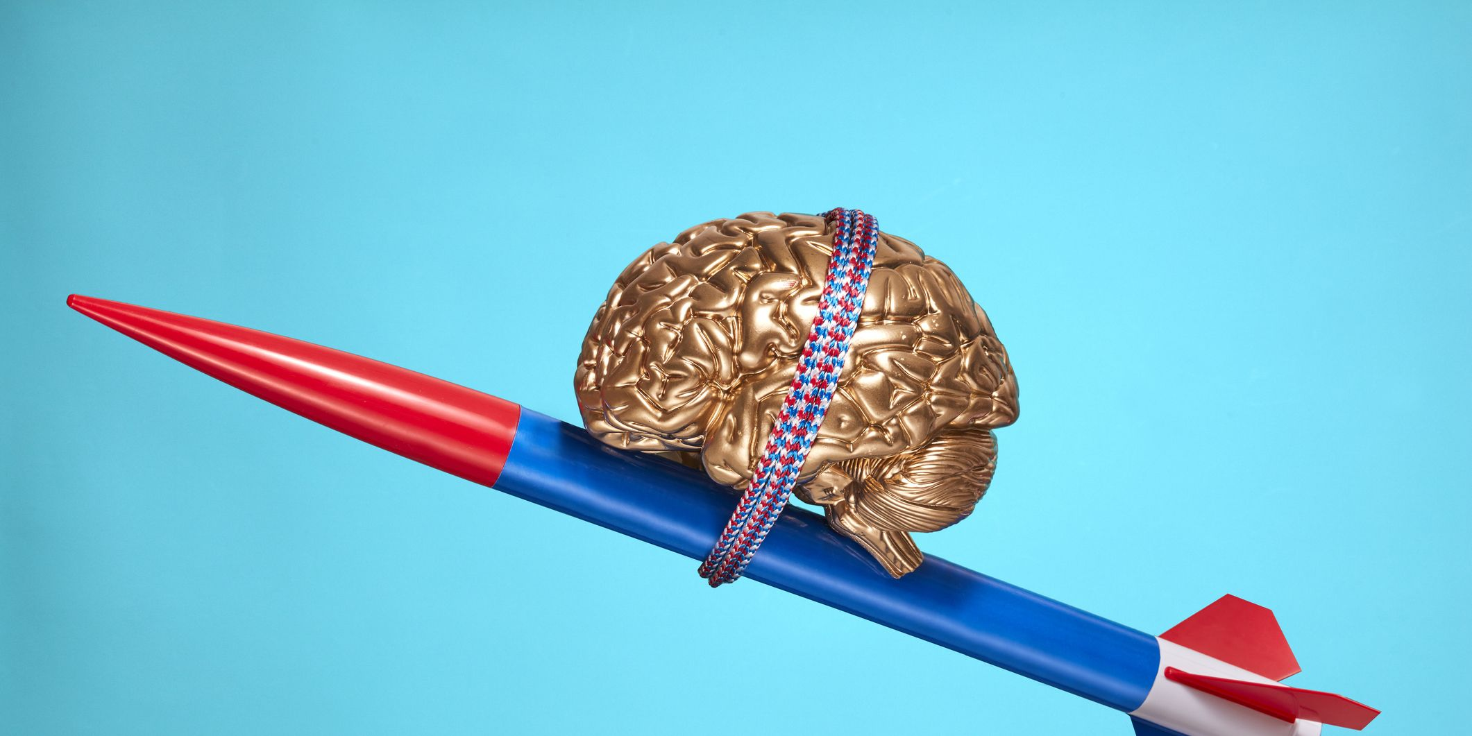 Golden Brain Strapped to a Rocket