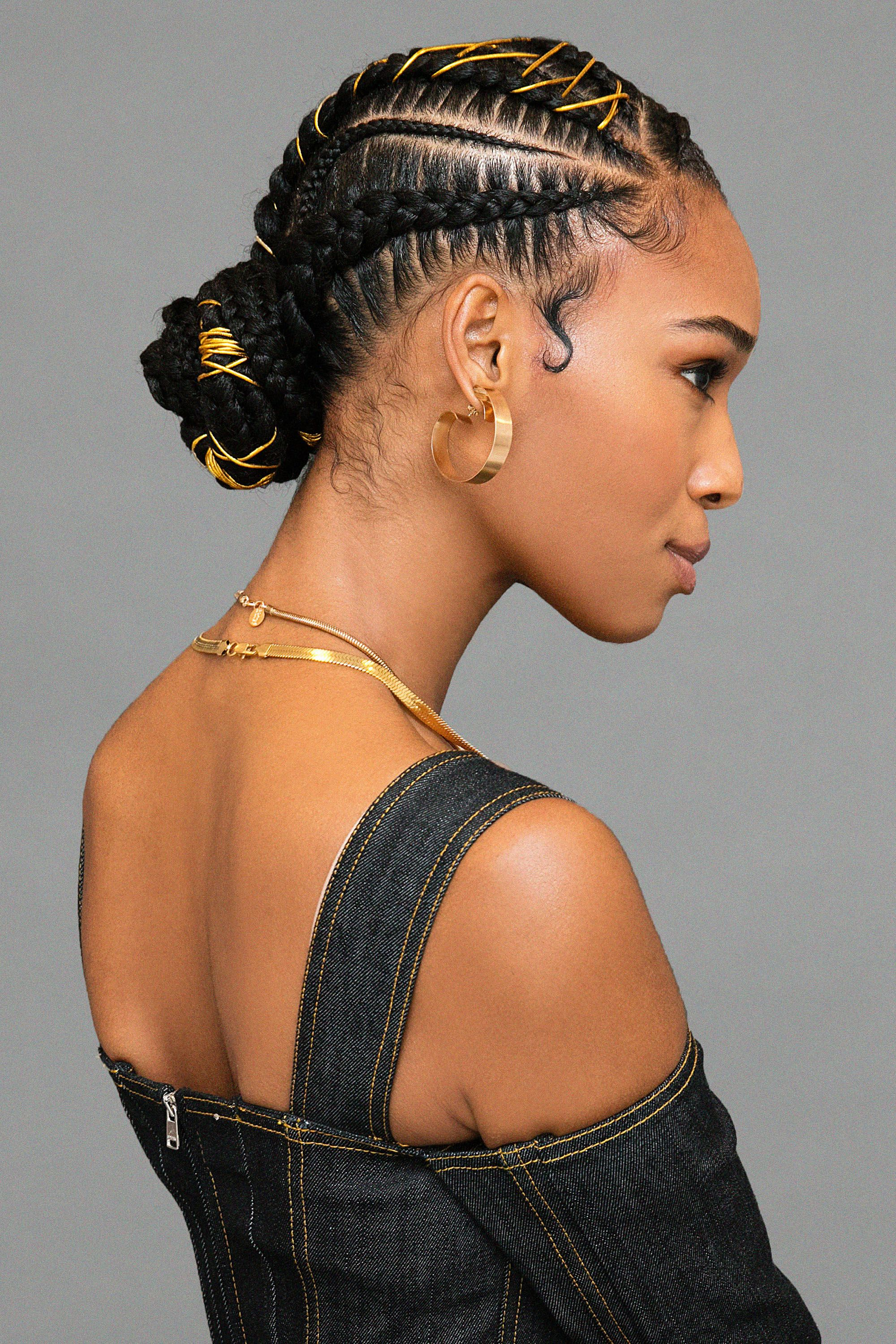 Um, This Braided Bun With Gold Stitching Is Definitely the Next Style You  Need to Try