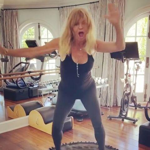 goldie hawn trampoline workout
