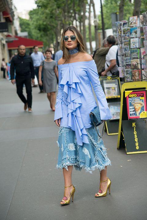 Clothing, Street fashion, Blue, Fashion, Denim, Shoulder, Jeans, Snapshot, Footwear, Dress,