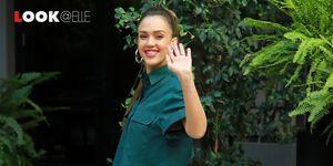 Gonne moda 2019: la gonna a righe di Jessica Alba è tendenza Primavera Estate 2019