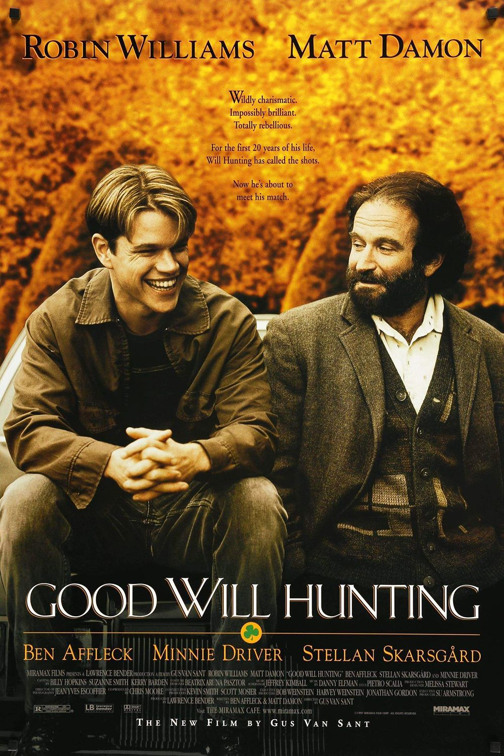 Good Will Hunting (1997) 20-year-old Will Hunting (Matt Damon) punches a police officer, is allowed deferred prosecution, and seeks therapy and mathematics tutoring from a renowned professor (Robin Williams). Ben Affleck and Matt Damon wrote the film together, and won an Academy Award for Best Original Screenplay.