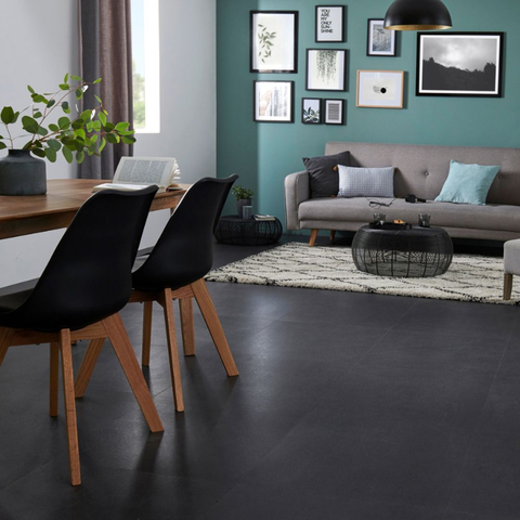 Black Floor Tiles In Living Rooms Is Newest 2020 Flooring Trend