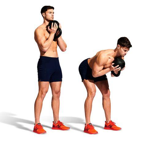 Muscle, Arm, Weights, Exercise equipment, Standing, Fitness professional, Kettlebell, Human leg, Leg, Abdomen,