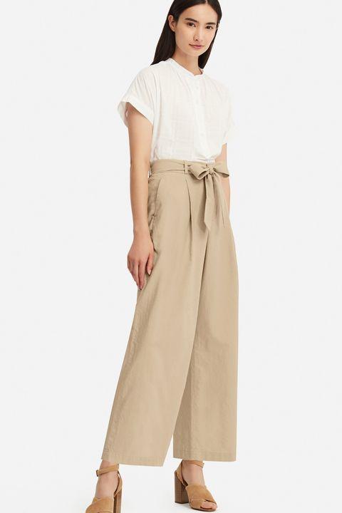 heatwave dressing -uniqlo linen blend wide leg belted trousers
