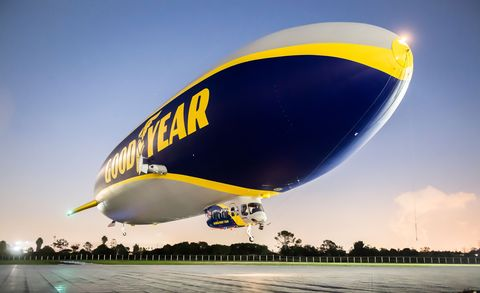 Air travel, Blimp, Airship, Yellow, Aircraft, Hot air ballooning, Vehicle, Mode of transport, Sky, Aerospace engineering,