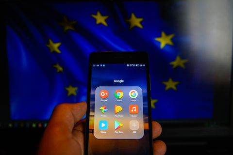 Google app are seen in a mobile with android operative...