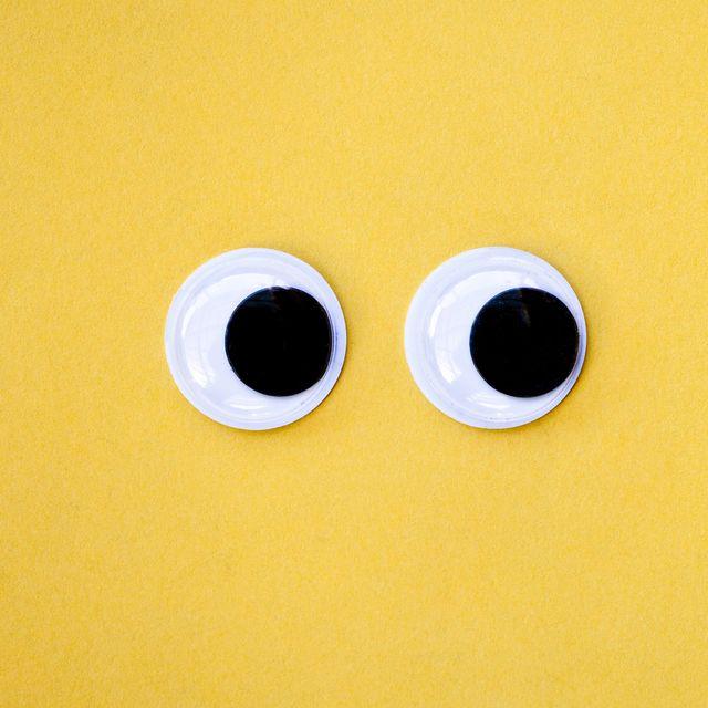 Googly eyes on yellow