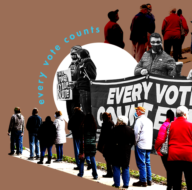 """a collage of long voter lines during the 2020 election and the text """"every vote counts"""""""