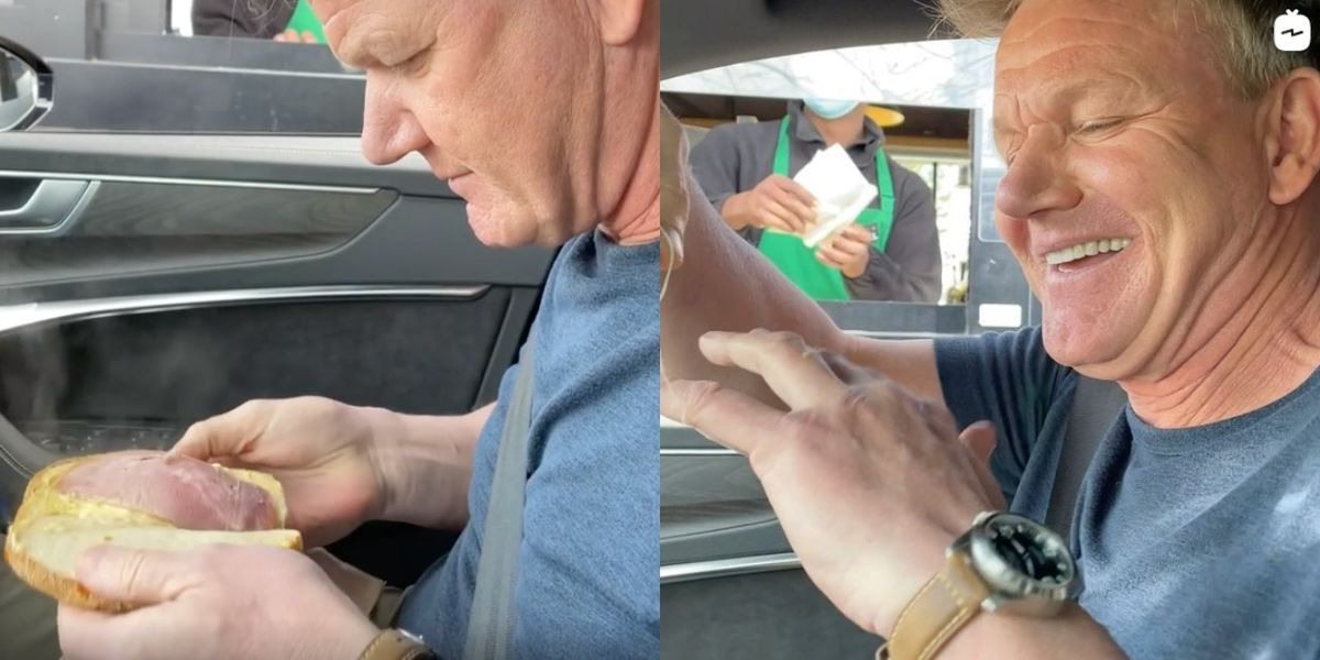 Gordon Ramsay Gives His Thoughts on Starbucks Sandwiches While in a Drive-Thru