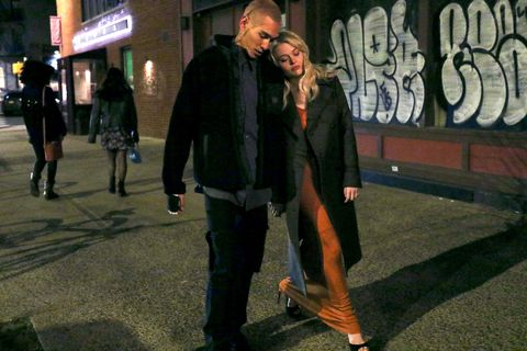 new york, ny   march 04 evan mock and emily alyn lind are seen on the set of gossip girl on march 04, 2021 in new york city  photo by jose perezbauer griffingc images