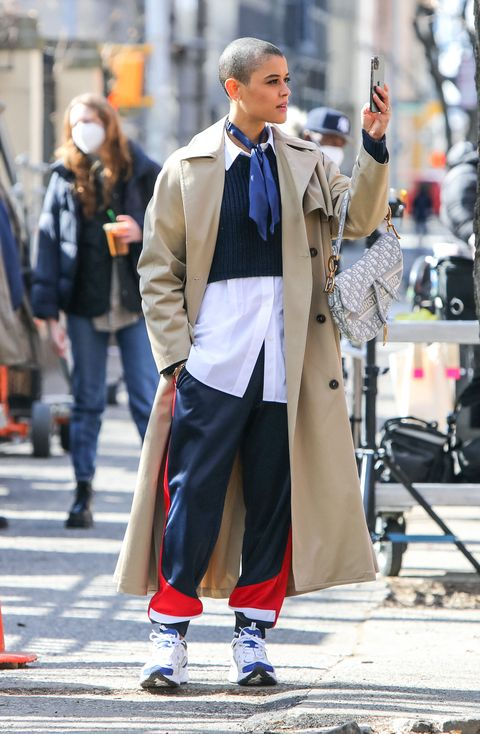 new york, ny   march 04 jordan alexander is seen at the film set of gossip girl tv series on march 04, 2021 in new york city  photo by jose perezbauer griffingc images