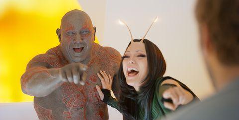 Drax y Mantis se parten de risa en el rodaje de Guardianes de la Galaxia 2