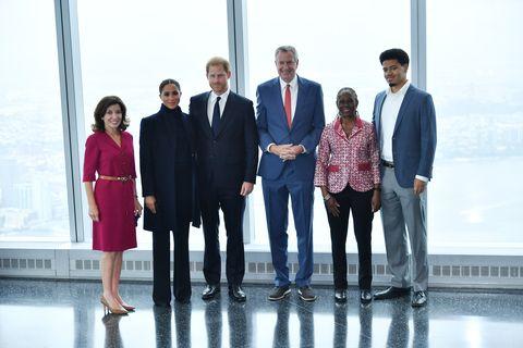 Герцог и герцогиня Сассекские посетили обсерваторию One World вместе с мэром Нью-Йорка Биллом де Блазио