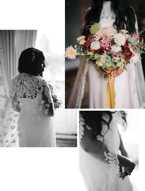 the details of zim flores' wedding dress