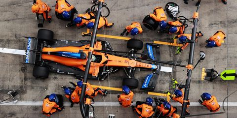 spielberg, austria   june 27 daniel ricciardo of australia driving the 3 mclaren f1 team mcl35m mercedes makes a pitstop during the f1 grand prix of styria at red bull ring on june 27, 2021 in spielberg, austria photo by mark thompsongetty images