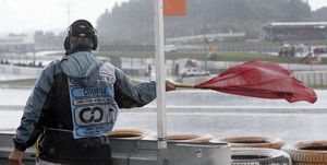 F1 Grand Prix of Europe at the Nuerburgring in Nuerburg, Germany: red flag after heavy rain