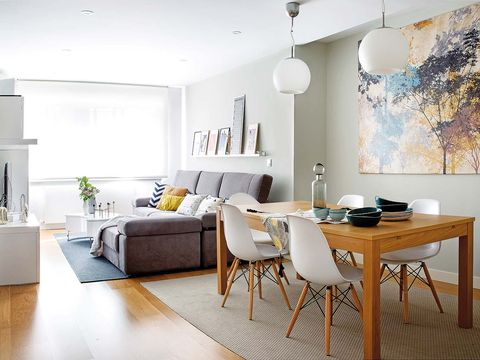 Room, Interior design, Floor, Wood, Flooring, Home, Furniture, Wall, Table, White,