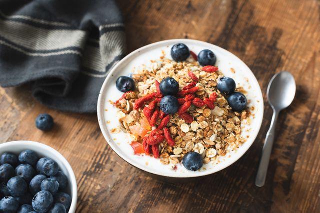 granola bowl with yogurt, berries