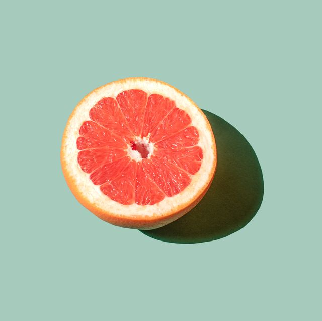 grapefruit on the green background