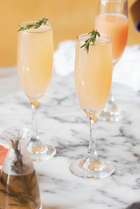 grapefruit and rosemary mimosa