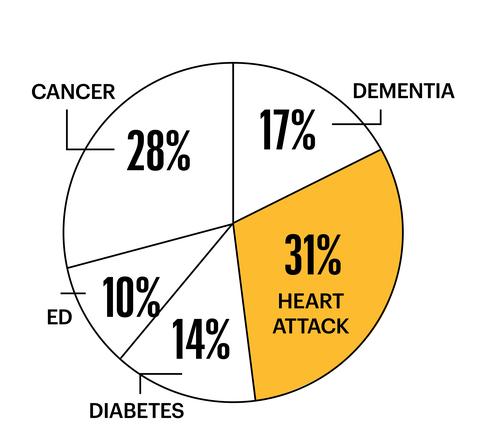 cancer 28 percent ed 10 percent diabetes 14 percent heart attack 31 percent dementia 17 percent