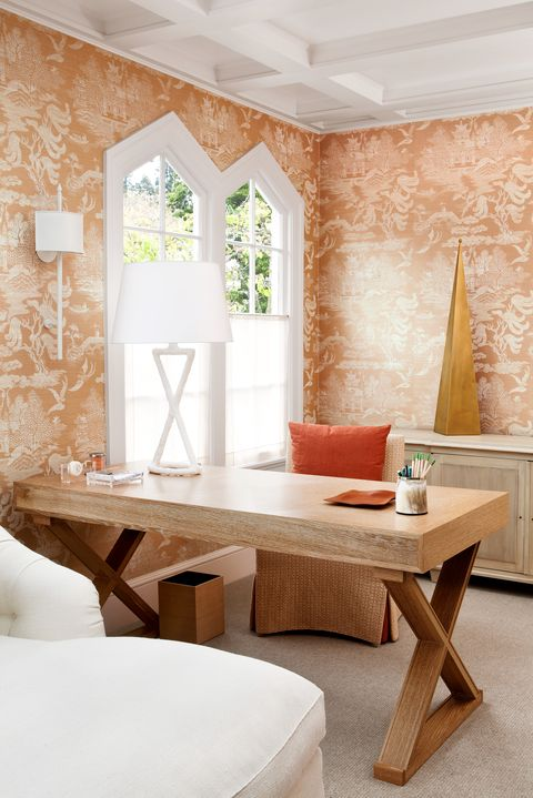 home office with orange grasscloth wallpaper