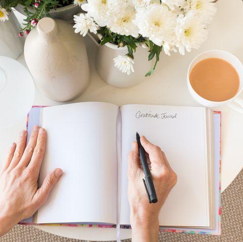 Woman's hands with gratitude journal