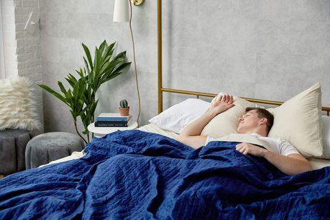 Bedroom, Bed, Bed sheet, Furniture, Blue, Room, Comfort, Bedding, Mattress, Pillow,
