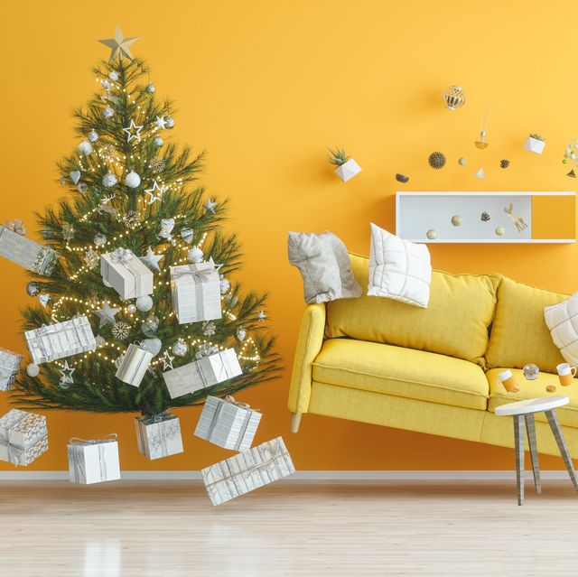 gravity concepts yellow living room with christmas tree