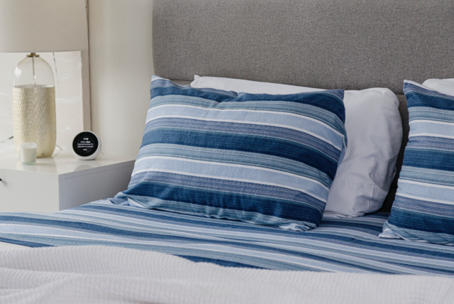 blue and white striped pillowcase