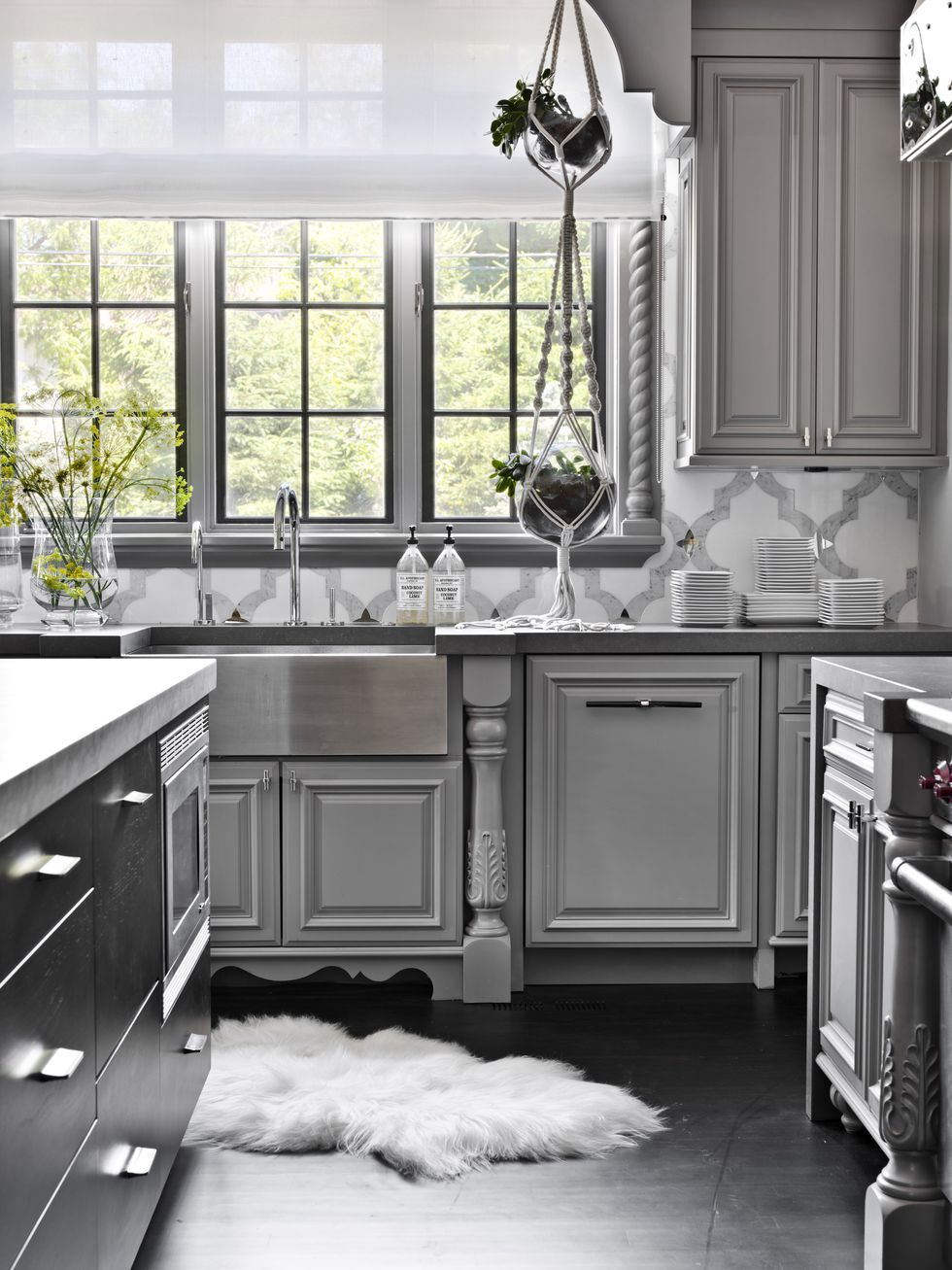 Attractive Grey Kitchen Cabinets Photo