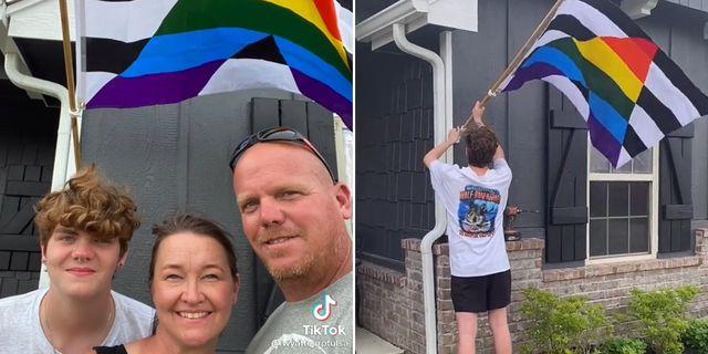 今月初め、アメリカのオクラホマ州に住むジョン・ワイアットさんが、15歳の息子のケイデンさんと一緒に「プライド月間」をお祝い。二人は、自宅の前にある旗を掲げる動画をtiktokに投稿し、話題に。