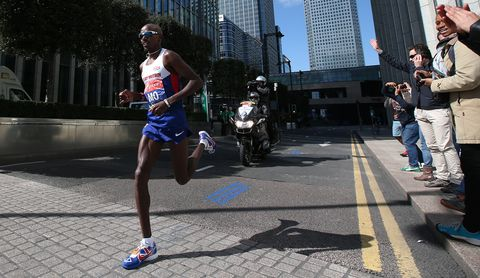 Mo Farah running at the Virgin Money London Marathon 2014