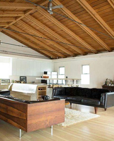 Room, Property, Building, Interior design, Ceiling, Wood flooring, Hardwood, Floor, Furniture, Loft,