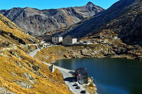 Great St Bernard Hospice, lake Lac du Grand St. Bernhard and border crossing point Switzerland Italy, Great St. Bernard Pass, Bourg-Saint-Pierre, Valais, Switzerland