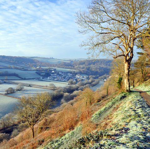 Natural landscape, Sky, Tree, Winter, Hill, River, Rural area, Highland, Mountain, Landscape,