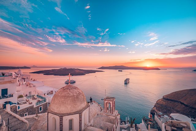 amazing evening landscape of fira, infinity pool caldera view santorini, greece with cruise ships at sunset cloudy dramatic sky sunset, wonderful summer scenery, travel vacation, holiday inspire