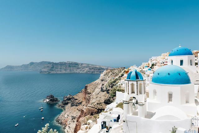 greece, santorini, oia, view to caldera and greek orthodox church