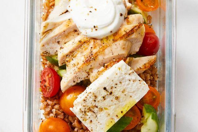 greek chicken grain bowl