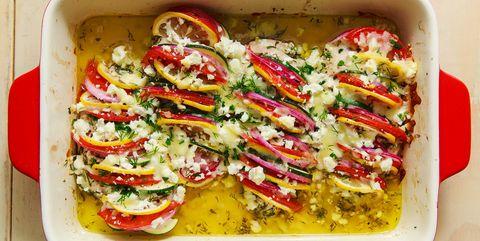 Dish, Food, Cuisine, Ingredient, Stuffed peppers, Zucchini, Vegetable, Vegetarian food, Produce, Ratatouille,
