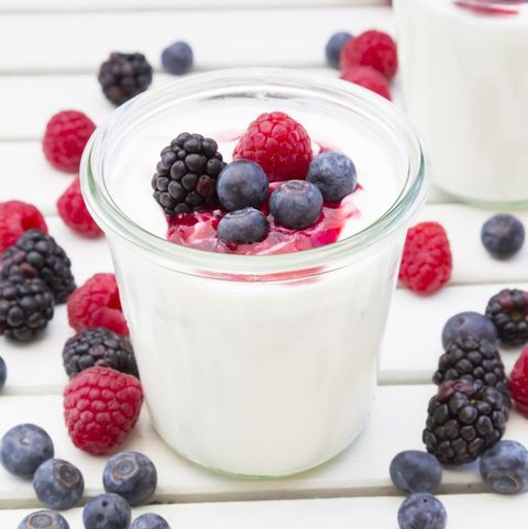 Glasses of Greek yogurt with berries