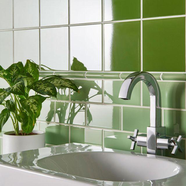 green bathroom, original style artworks palm green half tile gpg9002, £9995