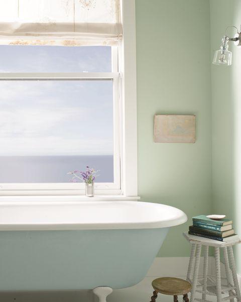 green bathroom, benjamin moore tub in breath of fresh air 806