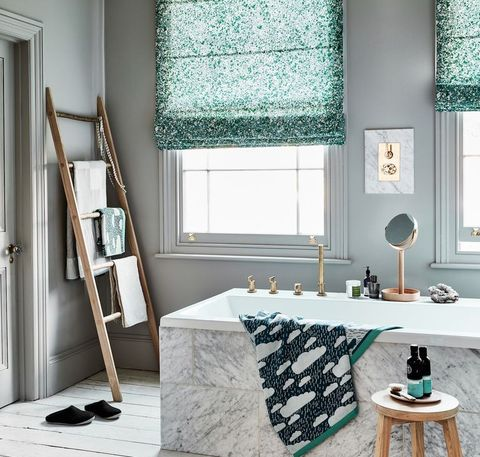 green themed bathroom with light grey walls